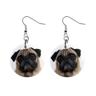 So Cute a Pair of Funny Pug Face Dog Puppy 1 Dangle Metal Earrings