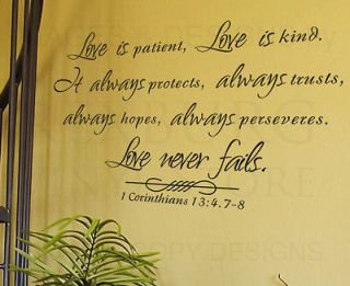 Wall Decal Sticker Quote Vinyl Large Love is Patient Kind Corinthians