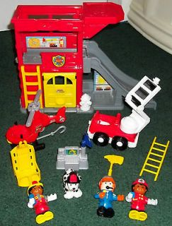 Fisher Price Little People Rescue Ramps Fire Station Playset Truck