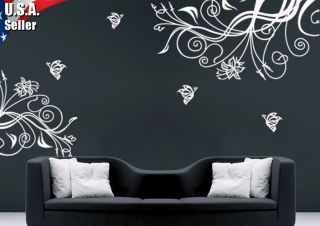 Wall Decor Art Vinyl Decal Sticker Large Paisley Swirls Floral Flowers