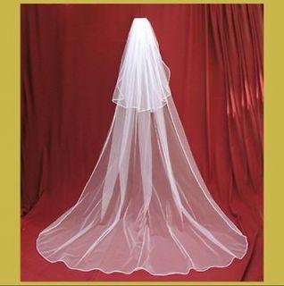 In stock White Wedding Bridal Veil 2T     Chapel long Bridal