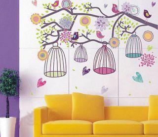 Style Happy Color Birdcage&Flower Tree Nursery Wall sticker Decor