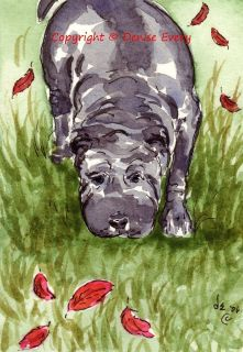 Blue Chinese Shar Pei Puppy Autumn Leaves Dog Art ACEO Print