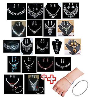 19style choose Fashion Wedding Set, white Rhinestone Crystal Necklace