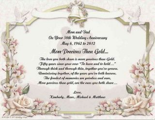 Wedding Anniversary Gift For Mom N Dad : 50th Wedding Anniversary Poem Gift For Mom Dad Anyone