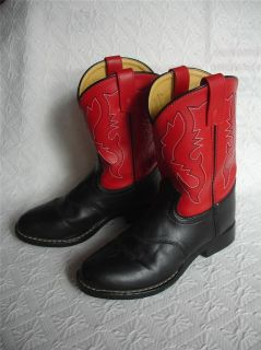Boys Smoky Mountain Red Black Cowboy Western BOOTS Sz 3