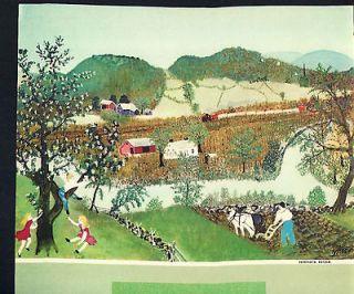 Vintage 1961 Grandma Moses print  horse plowing along river print