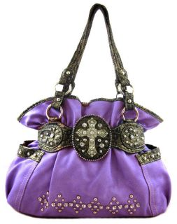 Western Cowgirl Rhinestone Cross Stud Accent Bling Hobo Bag Purse