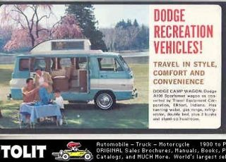 1965 Dodge A100 Travco Camper RV Pickup Mailer Brochure