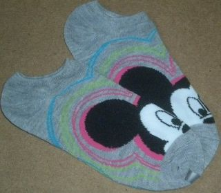 Disney Mickey Mouse Head No Show Socks Grey Gray Sz 9 11NEW Sneakers