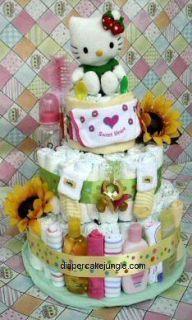 Diaper Cake Girl   Hello Kitty StrawBerry DiaperCake 3 Tier
