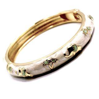 Gold 18k GF Bracelet Bangle White Enamel Elephant Good Luck SZ 3 Girl