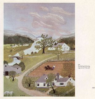 GRANDMA MOSES print rural scene THE SPRING IN EVENING