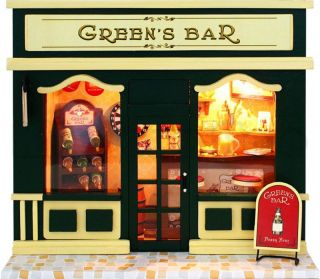 Wooden Dollhouse Miniature Model Kit with Light Greens Bar NEW in Box
