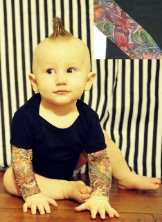 Wild Rose Butterfly Tattoo Sleeve Baby Onsies Black One Piece Shirt