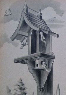 Whimsical BIRD HOUSE FEEDER FEEDING STATION 1947 WOODWORKING PLAN