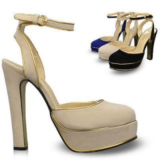 Ankle Strap Womens Shoes Platforms High Heels Sandals Pumps Beige US7