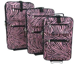 Piece Pink / Black Zebra Print Suitcase Set Luggage