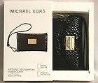 Michael Kors Black Python Leather wallet Clutch Wristlet case for