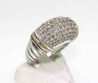 David Yurman 925 18K Yellow Gold Pave Diamond Ring Size 6 1/2