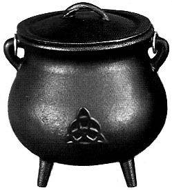 Triquetra Cast Iron Cauldron w/Lid Large 7 Wiccan Altar Witchcraft