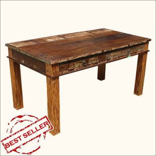 Drawers Rustic Reclaimed Wood Distressed Dining Table Furniture for