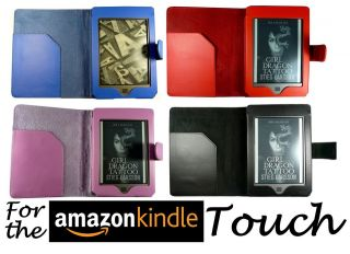 for  KINDLE TOUCH WIFI & 3G LEATHER CASE COVER WALLET WITH FULL