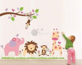 Removable large Jungle Animal zoo Wall Sticker Decor Decal Nursery