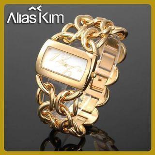 gold fashion Alias Kim women lady GIFT Analog charm bracelet quartz