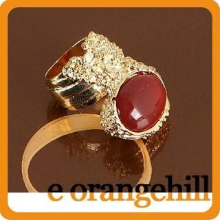 SZ 6.5 Red Agate Gemstone Chunky Armor Knuckle Cocktail Ring g139