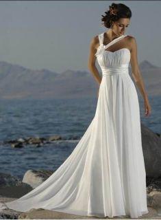 Beach Wedding Dress Evening One Shoulder Chiffon Sweetheart Bridal