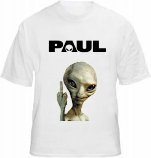 Paul Alien T shirt Movie Rude Finger Stag Shaun Fuzz