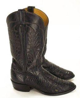025Q Mens TONY LAMA Black Snakeskin Embroidered COWBOY BOOTS Sz 10.5 D