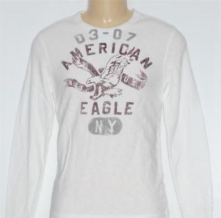 American Eagle Outfitters AEO Mens White Long Sleeve Thermal Shirt New