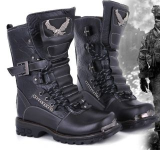 Punk Rock MENS BLACK GOTH PUNK ROCK BAND BUCKLE BOOT #D2096
