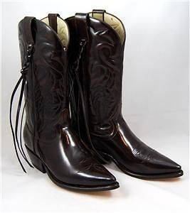 WOMENS WESTERN COWBOY BOOTS DARK BROWN LEATHER 10 C WITH TASSELS NEW