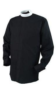 NEW FRIAR TUCK PRIEST CLERGY SHIRT  BLACK 15NECK,33LONG SLEEVES
