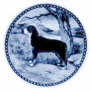 GREATER SWISS MOUNTAIN DOG DANISH BLUE PORCELAIN PLATE #7200