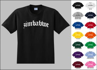 Country of Zimbabwe Old English Font Vintage Style Letters T shirt