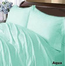 SALE USA 400TC COMPLETE BEDDING SET AQUA STRIPE 100%COTTON CHOOSE SIZE