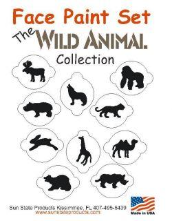 10 Piece Face Painting Stencil Kit Set Wild Animal