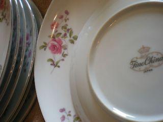 Crown) Fine China Japan BB Plates & 4 Saucers   Pink & Purple