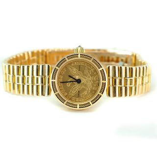 Corum 18 K Gold Coin Quartz Movement Bullet Bracelet Womens Watch