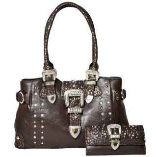 western cowgirl rhinestone buckle front shoulder bag with matching