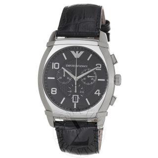 Armani Mens Classic Black Dial Stainless Steel Quartz Watch AR0347