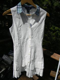 NWT Ralph Lauren Polo Kids Girls Junior Sz 16 White Sleeveless Shirt