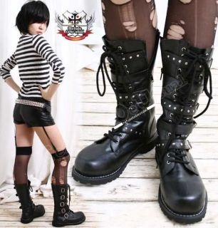 Visual Kei/Punk/SHOXX Goth 5 strap BOOT 7/7.5 BLACK 37