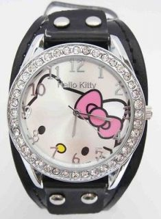 Wholesale 3 Piece Hello Kitty Swarovski Children Wrist Watch Fashion