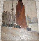 RUSSIAN ART PAVEL P PASHKOV OIL ON BOARD 1911 GOING FOR A WALK HOLLAND