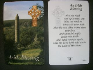 PRAYER / VERSE CARD IRISH BLESSING OTHERS + ROSARIES